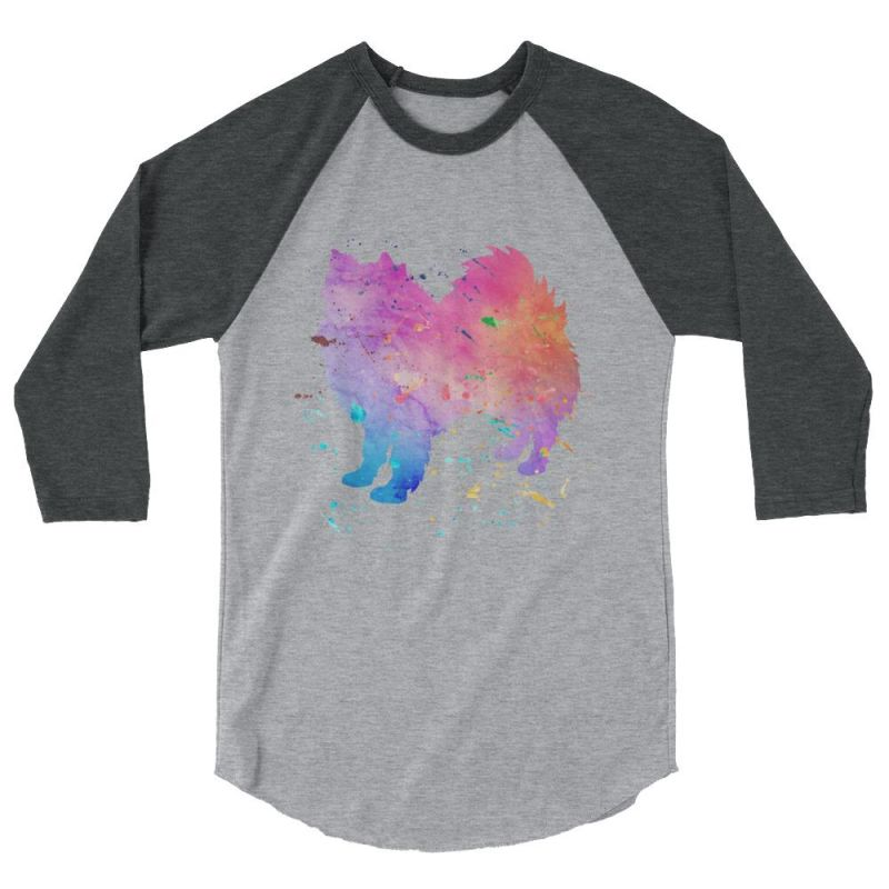 American Eskimo Dog - Watercolor Splatter Design Baseball Shirt Heather Grey/heather Charcoal / Xs