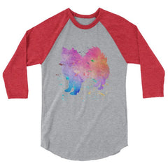 American Eskimo Dog - Watercolor Splatter Design Baseball Shirt Heather Grey/heather Red / Xs