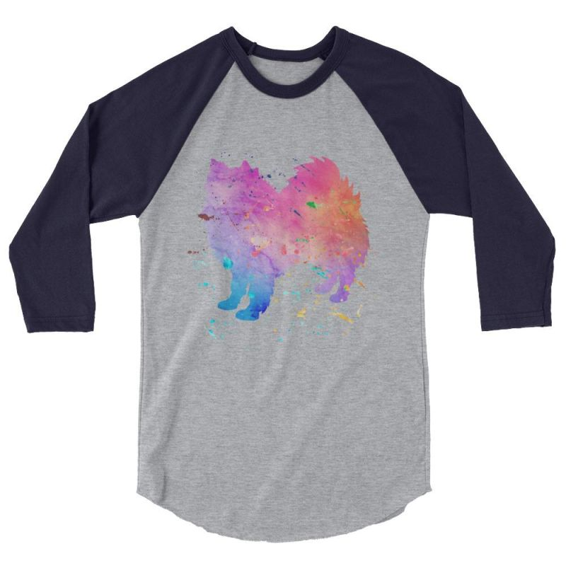 American Eskimo Dog - Watercolor Splatter Design Baseball Shirt Heather Grey/navy / Xs