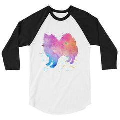 American Eskimo Dog - Watercolor Splatter Design Baseball Shirt White/black / Xs