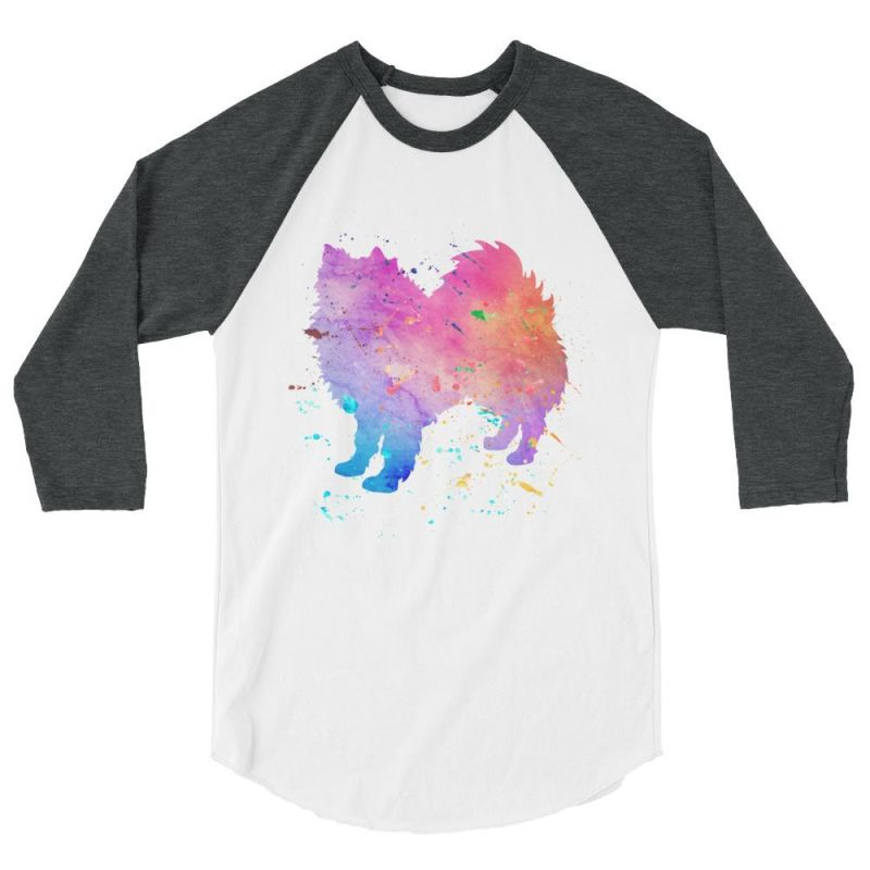 American Eskimo Dog - Watercolor Splatter Design Baseball Shirt White/heather Charcoal / Xs