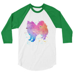 American Eskimo Dog - Watercolor Splatter Design Baseball Shirt White/kelly / Xs