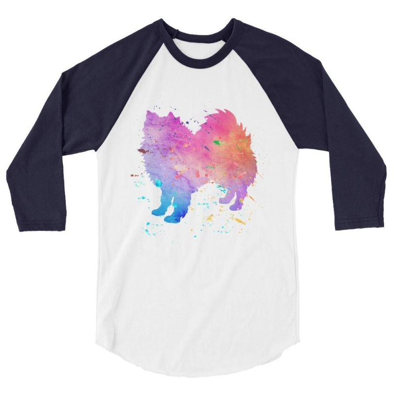 American Eskimo Dog - Watercolor Splatter Design Baseball Shirt White/navy / Xs