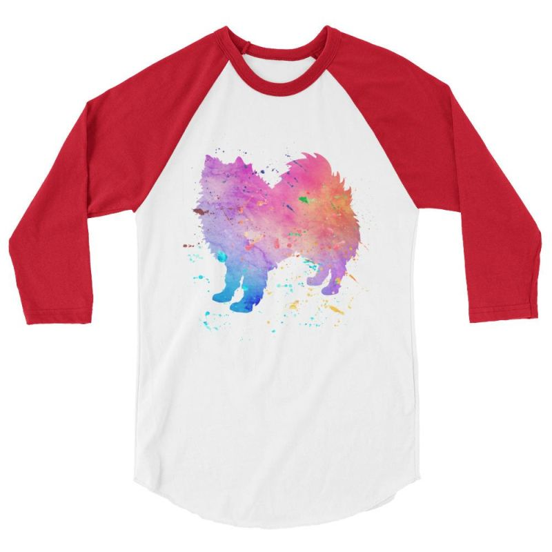 American Eskimo Dog - Watercolor Splatter Design Baseball Shirt White/red / Xs
