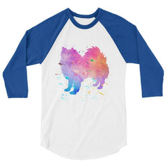 American Eskimo Dog - Watercolor Splatter Design Baseball Shirt White/royal / Xs