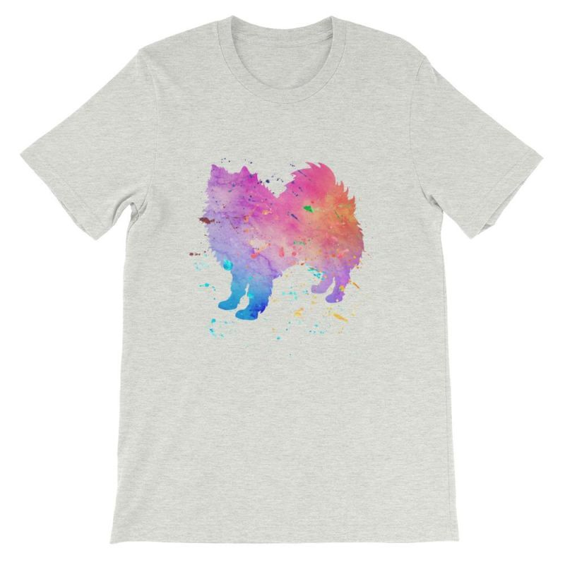 American Eskimo Dog - Watercolor Splatter Design Short-Sleeve Unisex T-Shirt Ash / S
