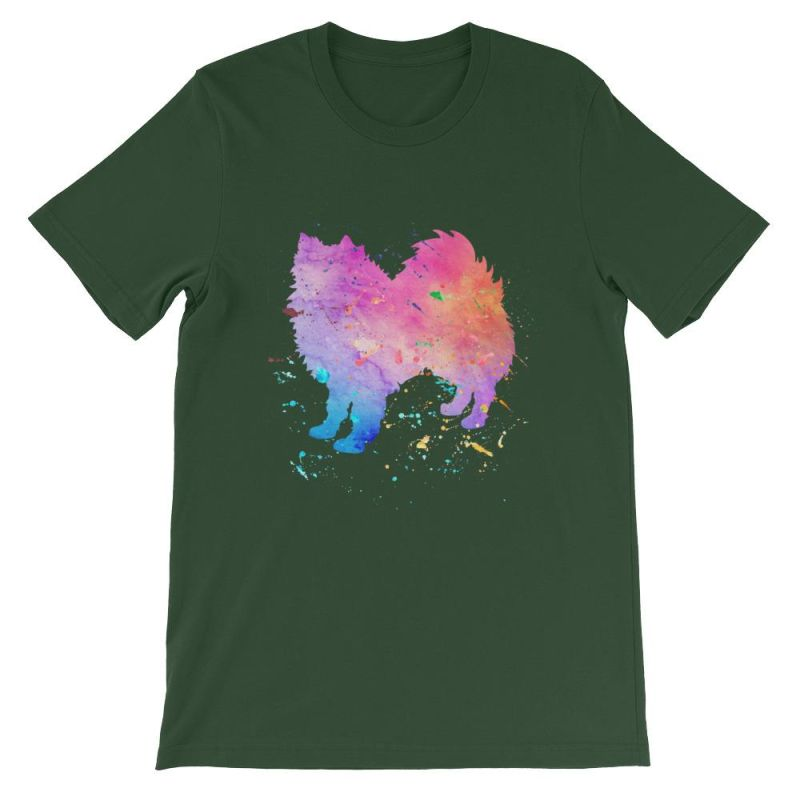 American Eskimo Dog - Watercolor Splatter Design Short-Sleeve Unisex T-Shirt Forest / S