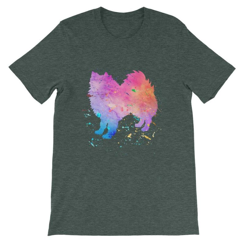 American Eskimo Dog - Watercolor Splatter Design Short-Sleeve Unisex T-Shirt Heather Forest / S
