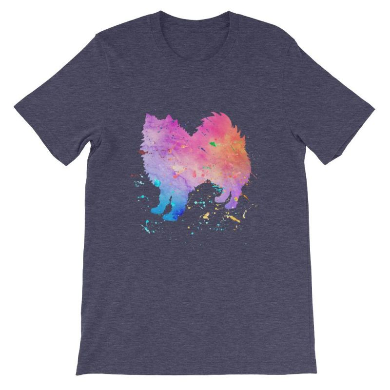 American Eskimo Dog - Watercolor Splatter Design Short-Sleeve Unisex T-Shirt Heather Midnight Navy / S