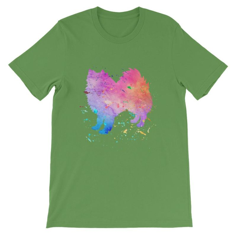 American Eskimo Dog - Watercolor Splatter Design Short-Sleeve Unisex T-Shirt Leaf / S