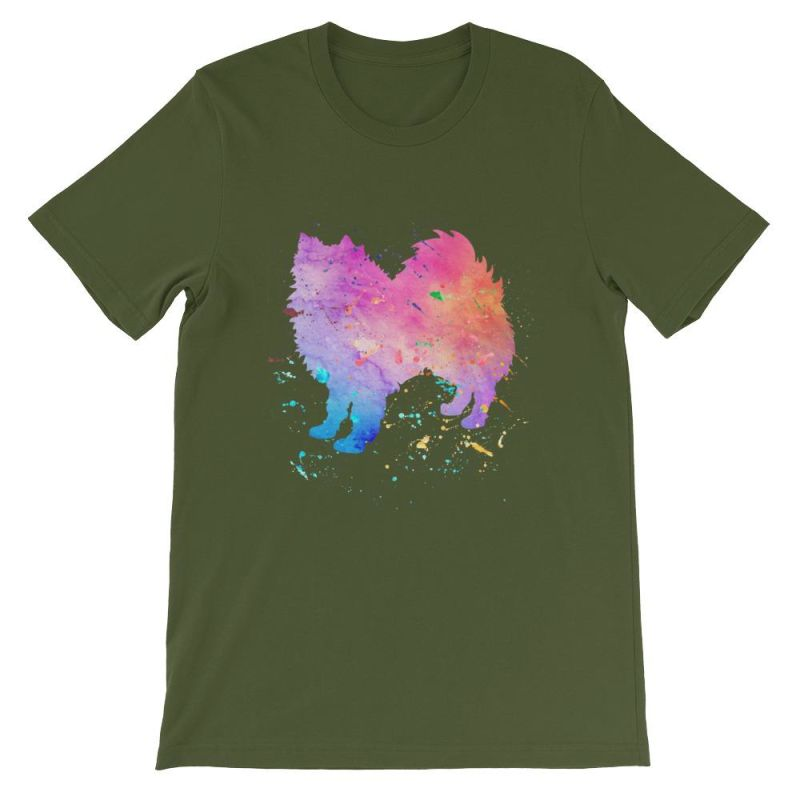 American Eskimo Dog - Watercolor Splatter Design Short-Sleeve Unisex T-Shirt Olive / S