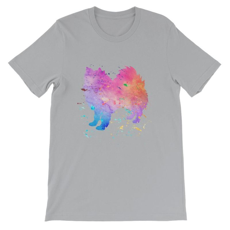 American Eskimo Dog - Watercolor Splatter Design Short-Sleeve Unisex T-Shirt Silver / S