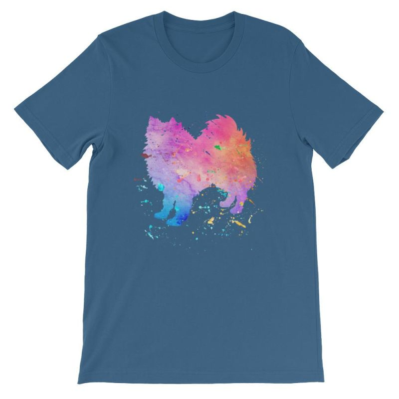 American Eskimo Dog - Watercolor Splatter Design Short-Sleeve Unisex T-Shirt Steel Blue / S