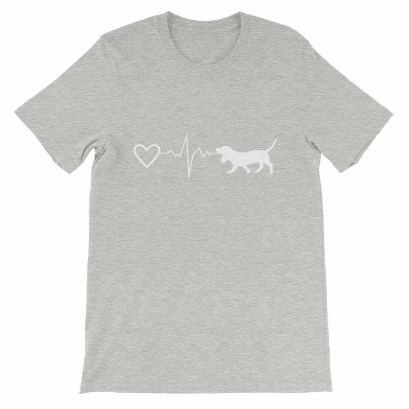 Basset Hound Heartbeat - Short-Sleeve Unisex T-Shirt Athletic Heather / S