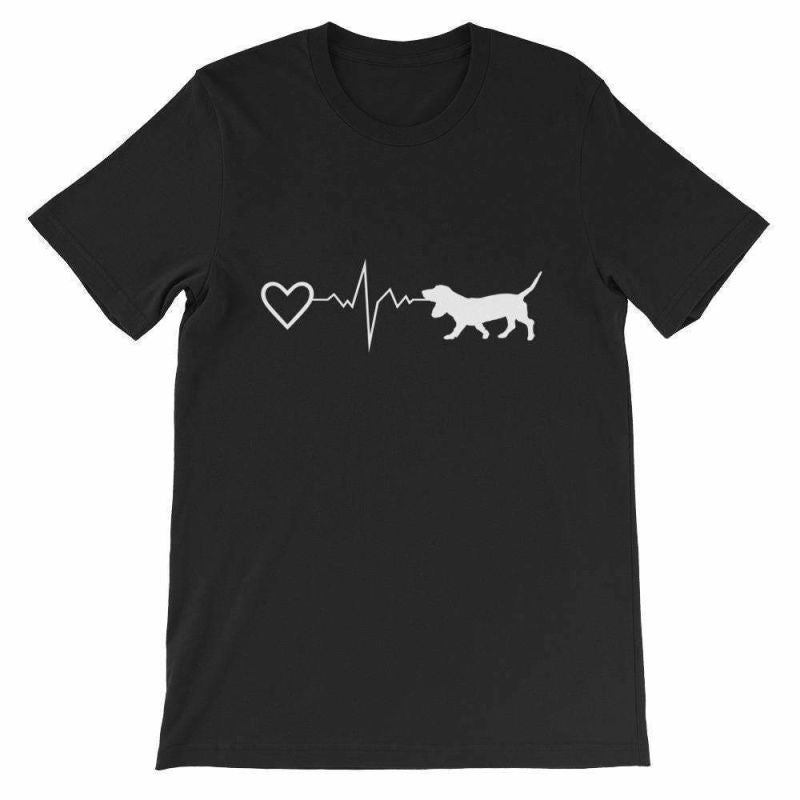 Basset Hound Heartbeat - Short-Sleeve Unisex T-Shirt Black / S