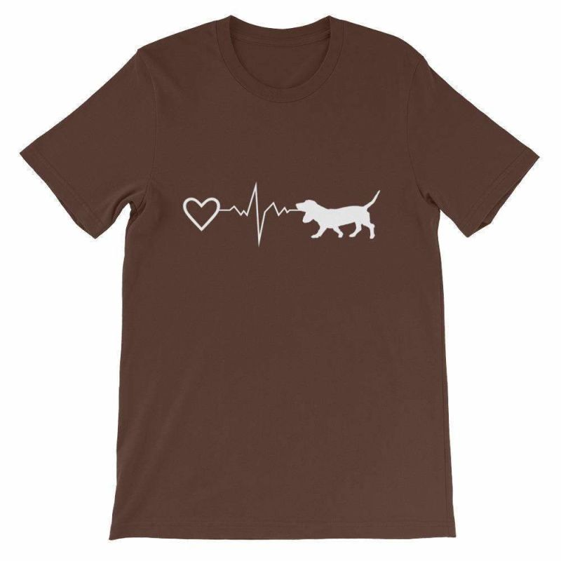 Basset Hound Heartbeat - Short-Sleeve Unisex T-Shirt Brown / S