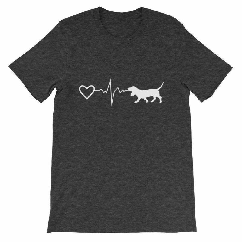 Basset Hound Heartbeat - Short-Sleeve Unisex T-Shirt Dark Grey Heather / S