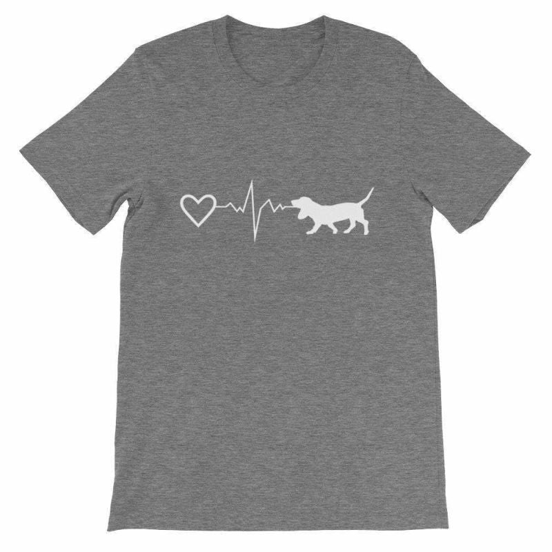 Basset Hound Heartbeat - Short-Sleeve Unisex T-Shirt Deep Heather / S