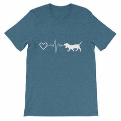 Basset Hound Heartbeat - Short-Sleeve Unisex T-Shirt Heather Deep Teal / S
