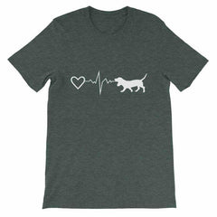 Basset Hound Heartbeat - Short-Sleeve Unisex T-Shirt Heather Forest / S