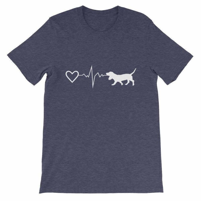 Basset Hound Heartbeat - Short-Sleeve Unisex T-Shirt Heather Midnight Navy / S