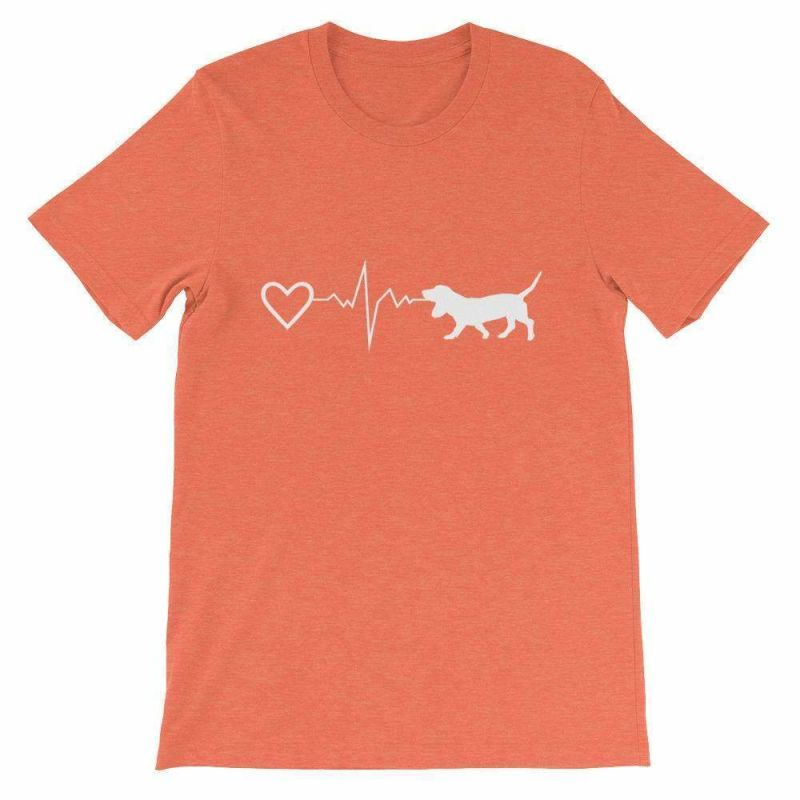 Basset Hound Heartbeat - Short-Sleeve Unisex T-Shirt Heather Orange / S