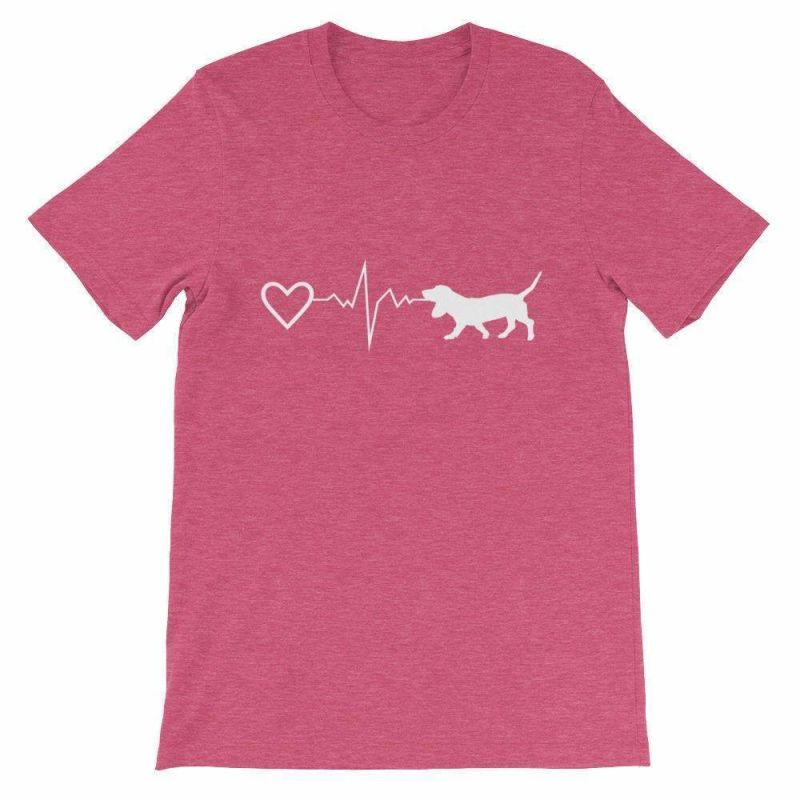 Basset Hound Heartbeat - Short-Sleeve Unisex T-Shirt Heather Raspberry / S