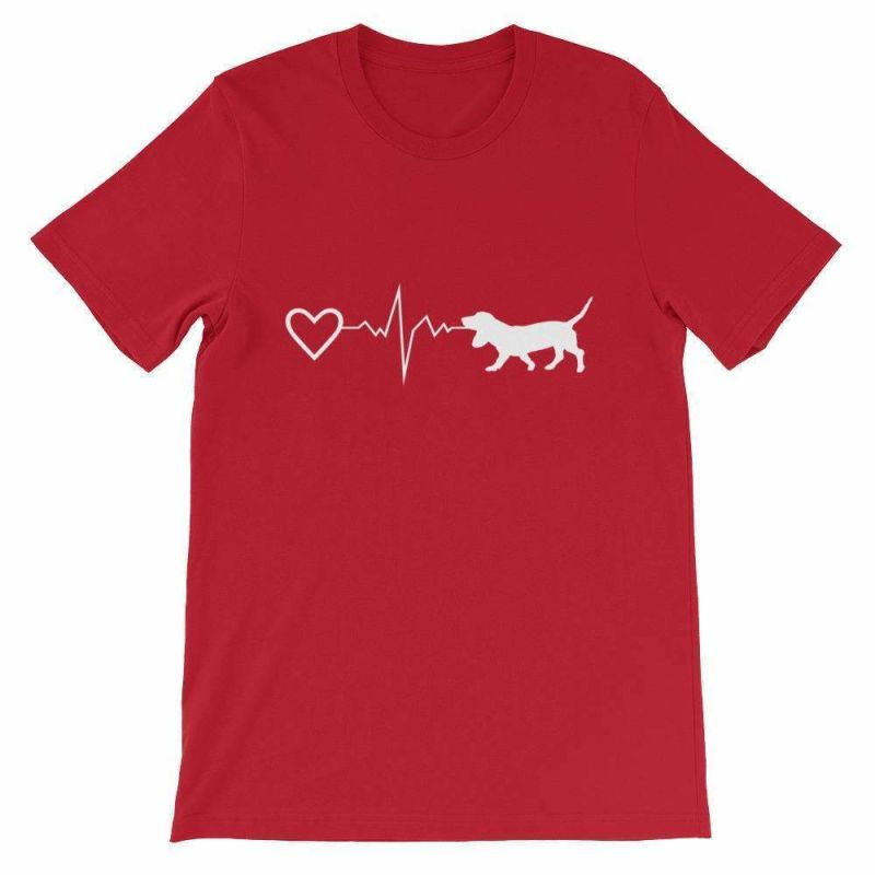 Basset Hound Heartbeat - Short-Sleeve Unisex T-Shirt Red / S