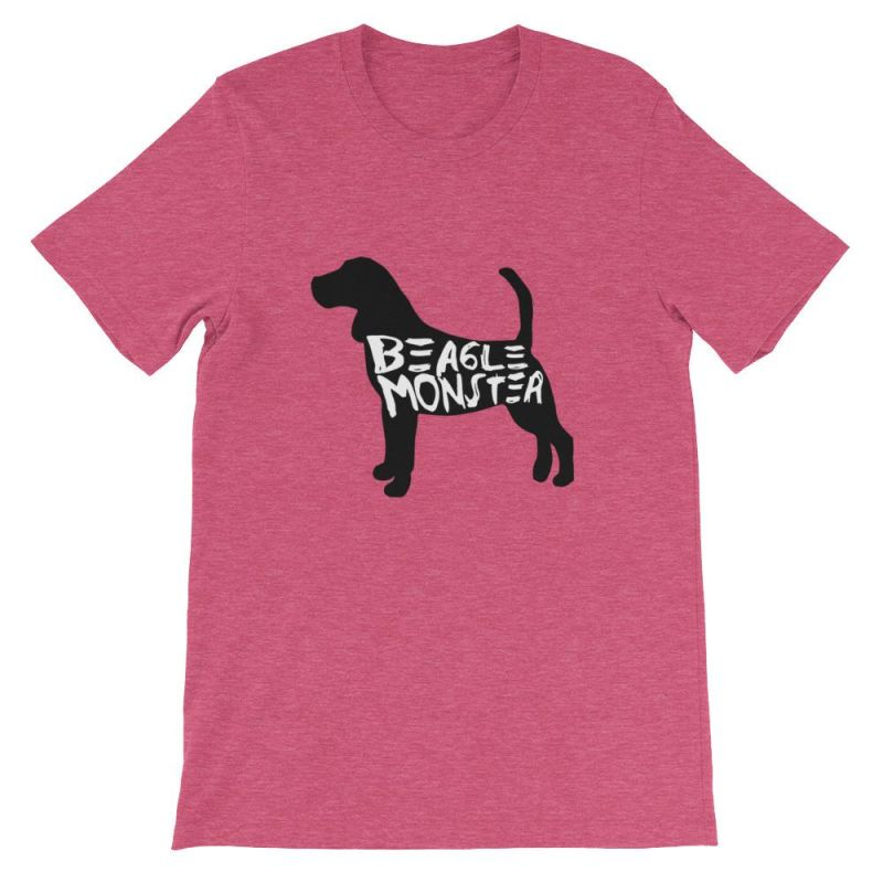 Beagle Monster - Short-Sleeve Unisex T-Shirt Heather Raspberry / S