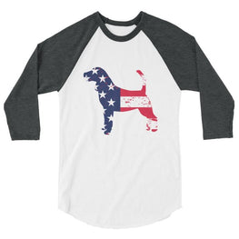 Beagle - Patriotic Design - Baseball Shirt White/heather Charcoal / Xs