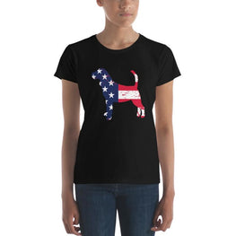 Beagle - Patriotic Design - Womens Short Sleeve T-Shirt Black / S