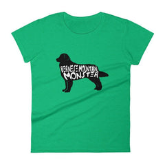 Bernese Mountain Dog Monster - Womens Short Sleeve T-Shirt Heather Green / S