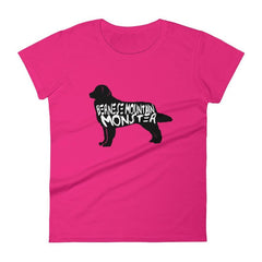 Bernese Mountain Dog Monster - Womens Short Sleeve T-Shirt Hot Pink / S