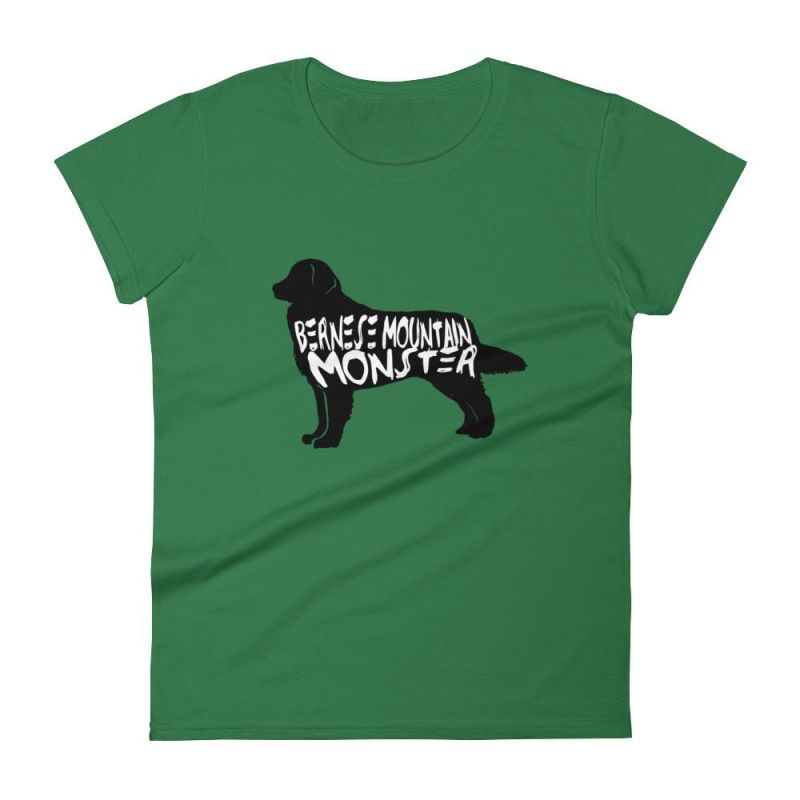 Bernese Mountain Dog Monster - Womens Short Sleeve T-Shirt Kelly Green / S
