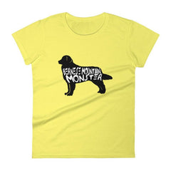Bernese Mountain Dog Monster - Womens Short Sleeve T-Shirt Spring Yellow / S