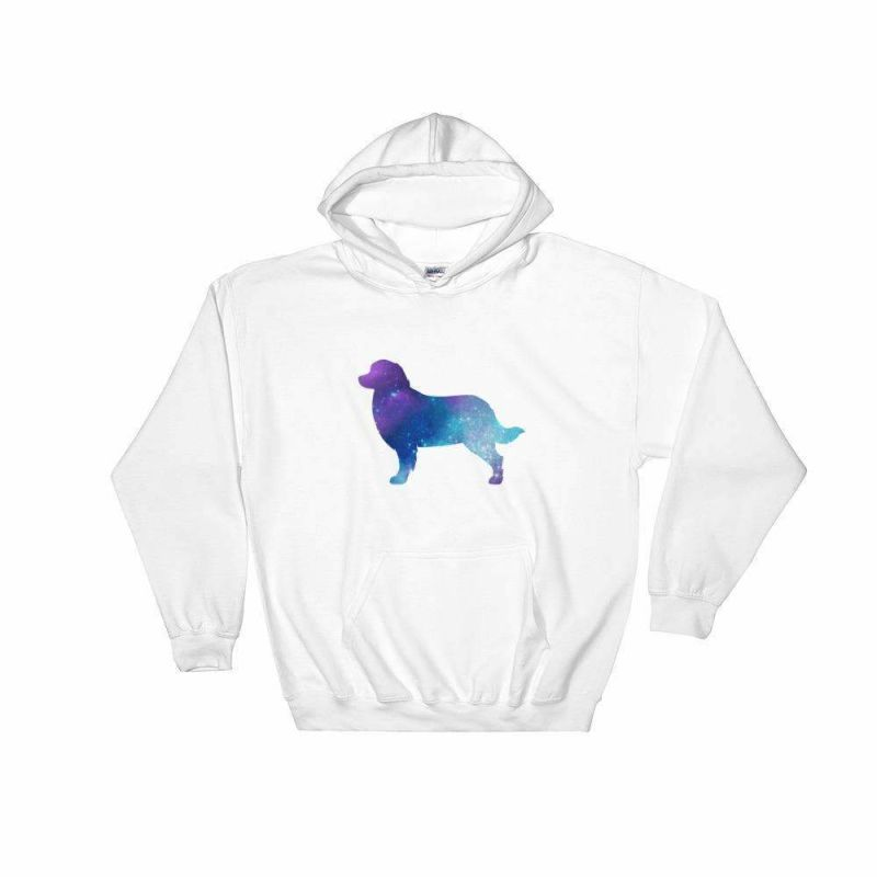 Bernese Mountain Galaxy Design Hoodie White / S