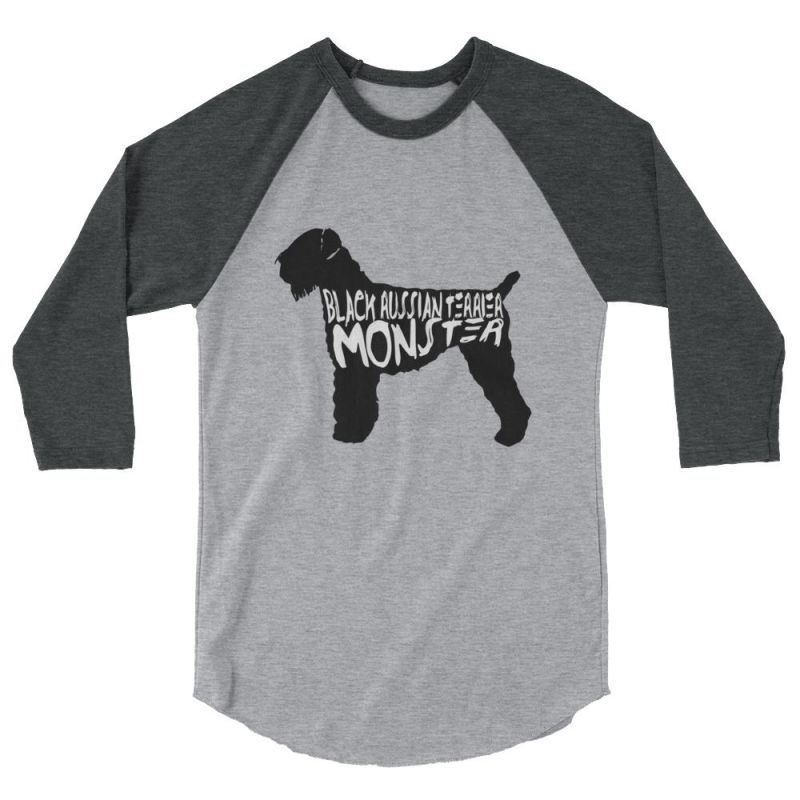 Black Russian Terrier Monster - Baseball Shirt Heather Grey/heather Charcoal / S