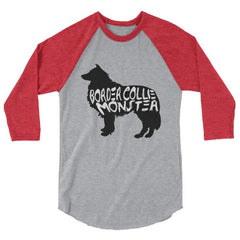 Border Collie Monster Baseball Shirt Heather Grey/heather Red / Xs