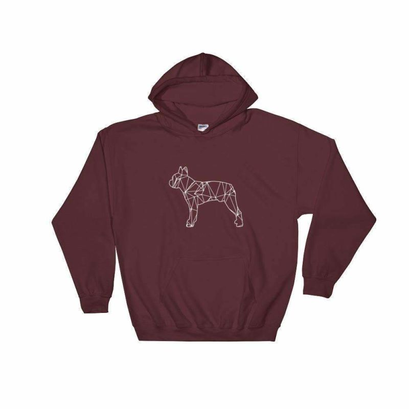 Boston Terrier Geometric Design Hoodie Maroon / S
