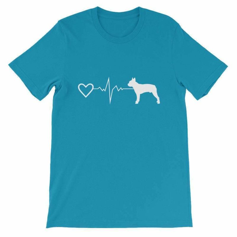 Boston Terrier Heartbeat - Short-Sleeve Unisex T-Shirt Aqua / S