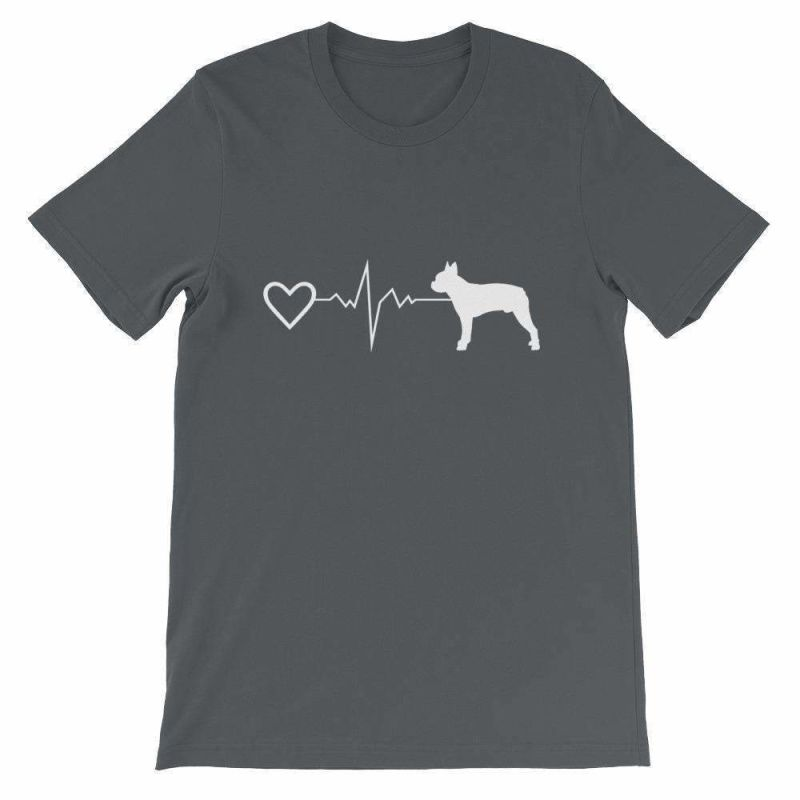 Boston Terrier Heartbeat - Short-Sleeve Unisex T-Shirt Asphalt / S