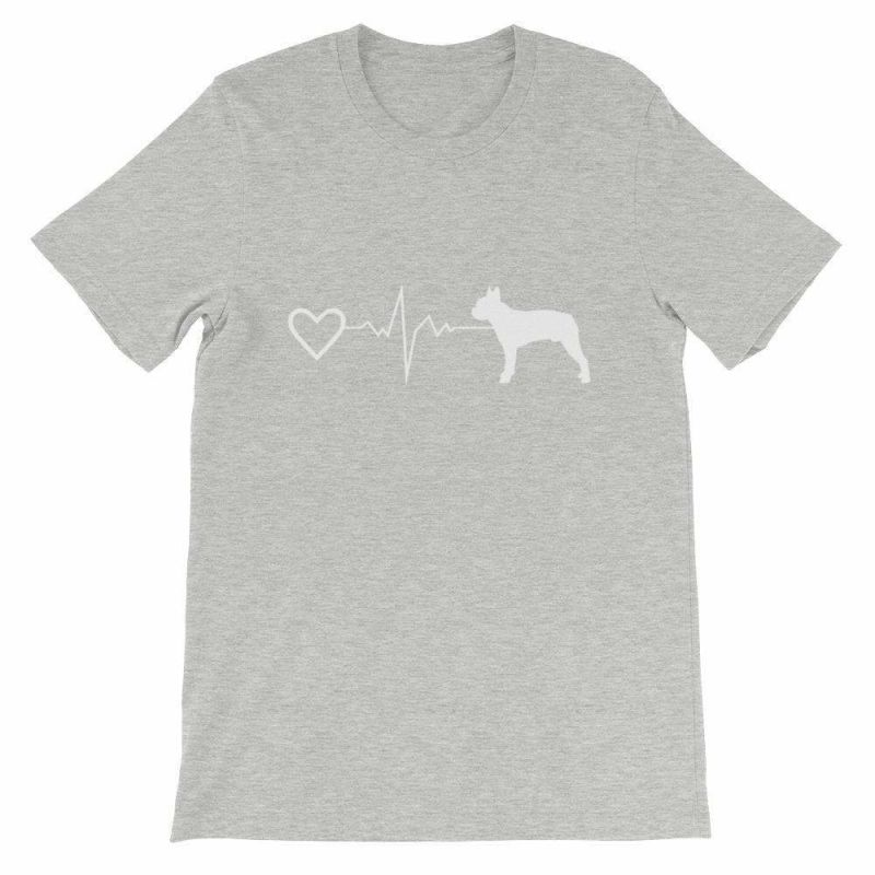 Boston Terrier Heartbeat - Short-Sleeve Unisex T-Shirt Athletic Heather / S
