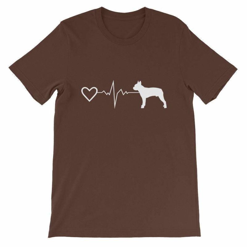 Boston Terrier Heartbeat - Short-Sleeve Unisex T-Shirt Brown / S