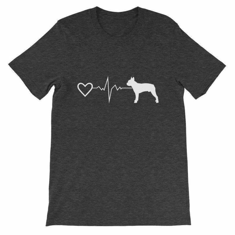 Boston Terrier Heartbeat - Short-Sleeve Unisex T-Shirt Dark Grey Heather / S