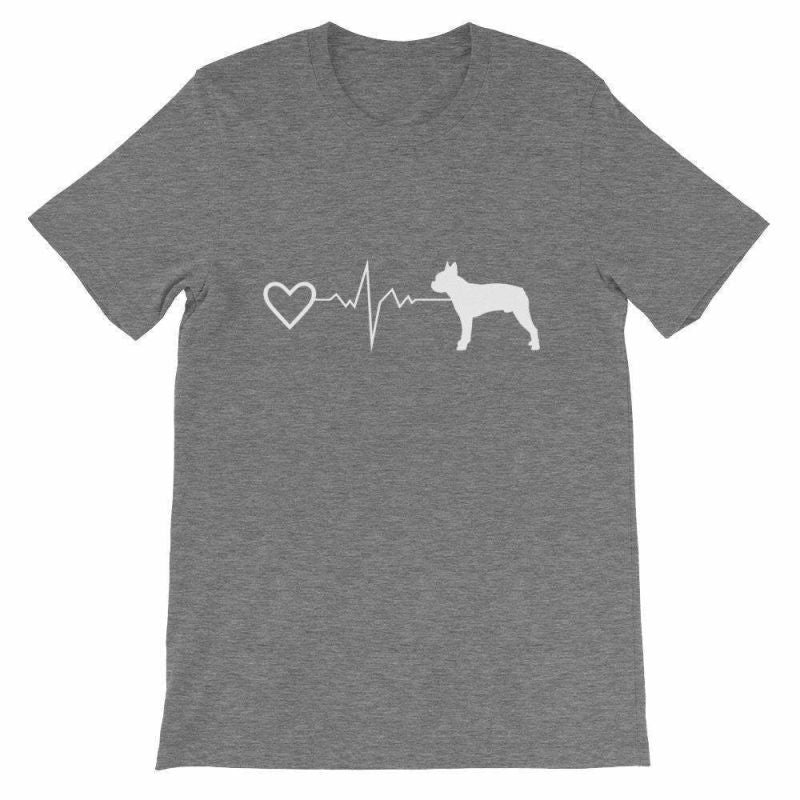 Boston Terrier Heartbeat - Short-Sleeve Unisex T-Shirt Deep Heather / S