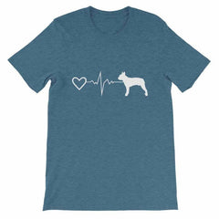 Boston Terrier Heartbeat - Short-Sleeve Unisex T-Shirt Heather Deep Teal / S
