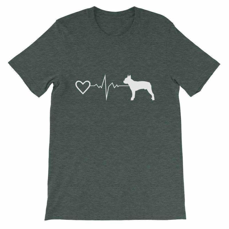 Boston Terrier Heartbeat - Short-Sleeve Unisex T-Shirt Heather Forest / S