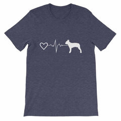 Boston Terrier Heartbeat - Short-Sleeve Unisex T-Shirt Heather Midnight Navy / S
