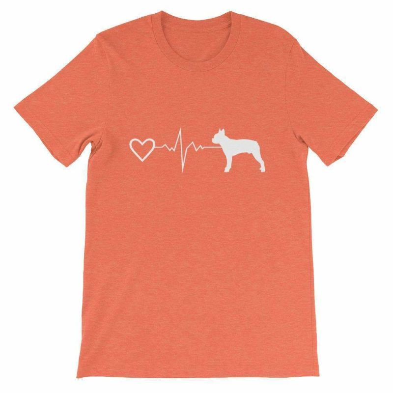 Boston Terrier Heartbeat - Short-Sleeve Unisex T-Shirt Heather Orange / S