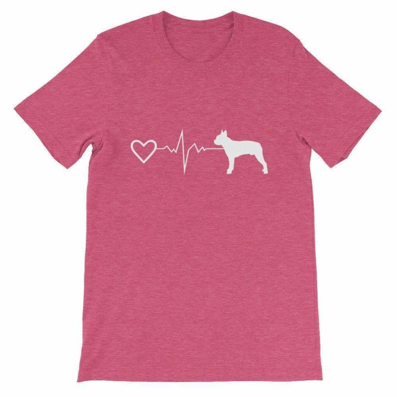 Boston Terrier Heartbeat - Short-Sleeve Unisex T-Shirt Heather Raspberry / S